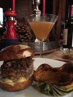 Blue Cheese and Bacon Marmalade Sliders on Pretzel Buns with Roasted RainbowSquash